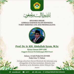 Turut berduka cita wafatnya Bp Abdullah Syam